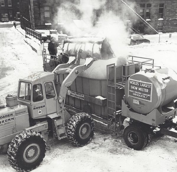 This is a black and white photo of the world's largest snow melter.